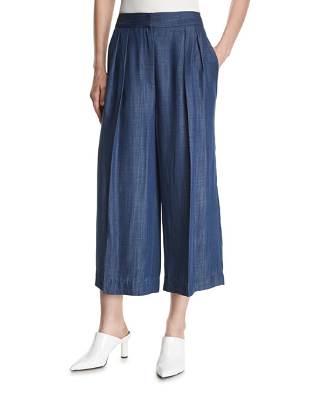 Pleated Wide-Leg Chambray Pants