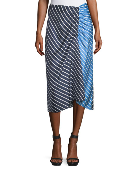 Delphina Striped Colorblock Satin Midi Skirt