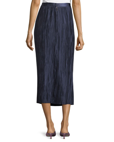 Plisse Pleated Midi Skirt