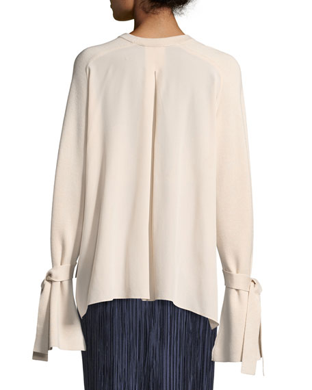 Silk-Back Crewneck Bell-Sleeve Wool Top