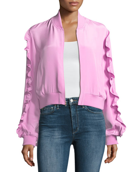 4-Ply Silk Zip-Front Bomber Jacket W/ Ruffled Frills in Pink