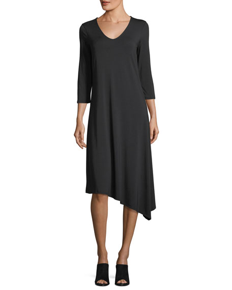 3/4-Sleeve Asymmetric-Hem Dress