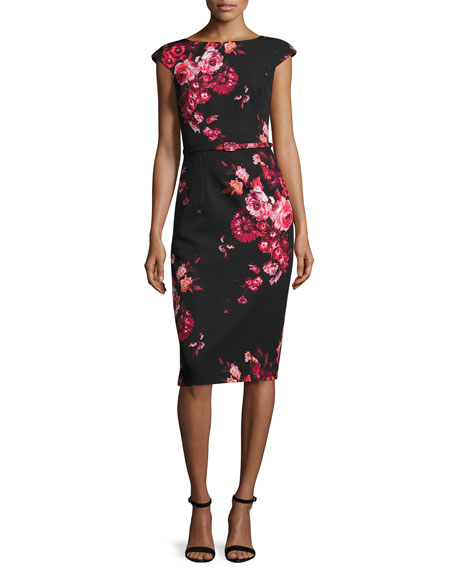 David Meister Cap-Sleeve Belted Floral Sheath Dress, Red/Black