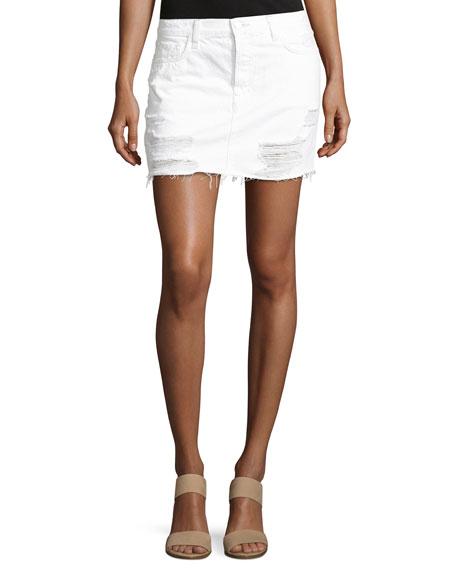 J Brand Bonny Mid-Rise Cotton Mini Skirt, Distract