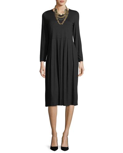 Long-Sleeve Pleated Jersey Dress