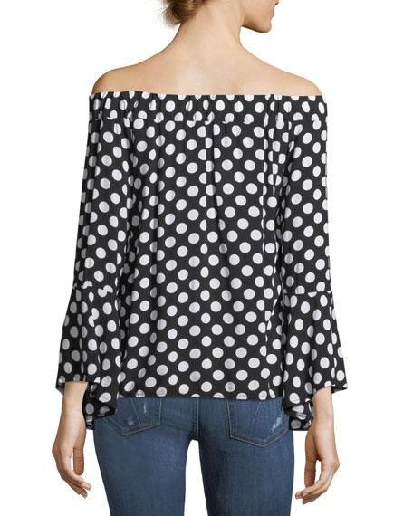 Off-the-Shoulder Dot-Print Blouse