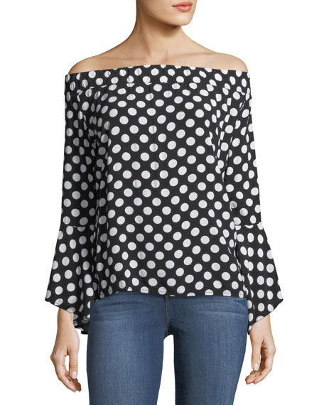 Off-the-Shoulder Dot-Print Blouse