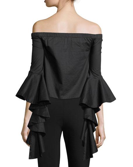 Flared Off-The-Shoulder Blouse