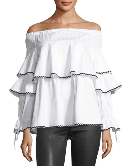 FEW MODA Off-the-Shoulder Piped-Ruffle Blouse