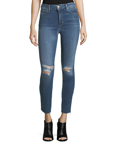The Charlie High-Rise Distressed Ankle Skinny Jeans