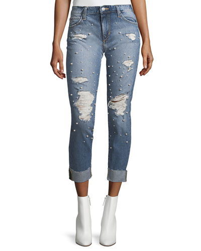 The Smith Mid-Rise Straight-Leg Jeans w/ Embellishments