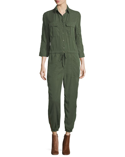 Marjan Button-Front Long-Sleeve Jumpsuit w/ Embroidery