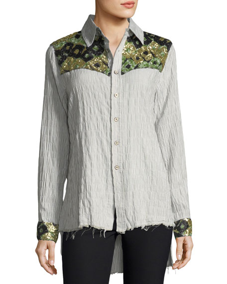 Hana Long-Sleeve Button-Down Striped Cotton Shirt w/ Sequins