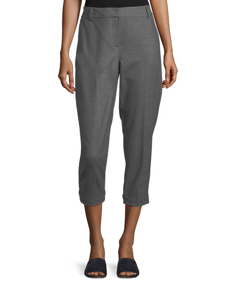 Eileen Fisher Heathered Flannel Ankle Trousers