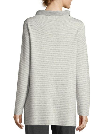 Funnel-Neck Ribbed Organic Cotton & Cashmere Tunic, Petite