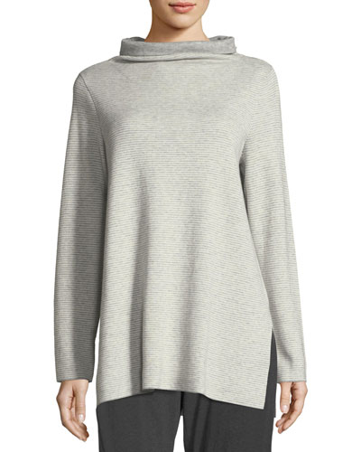 Funnel-Neck Ribbed Organic Cotton & Cashmere Tunic