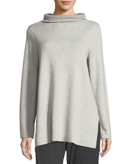 Eileen Fisher Funnel-Neck Ribbed Organic Cotton & Cashmere