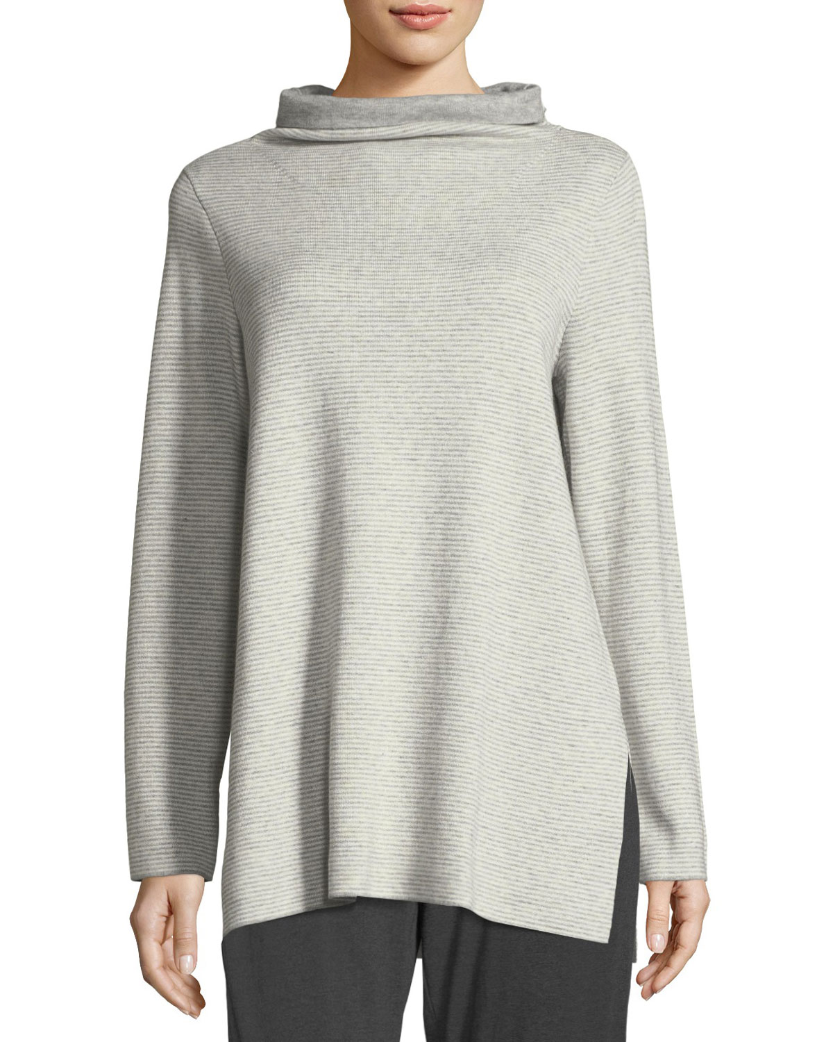 88976f2fa8a Eileen Fisher Funnel-Neck Ribbed Organic Cotton & Cashmere Tunic ...