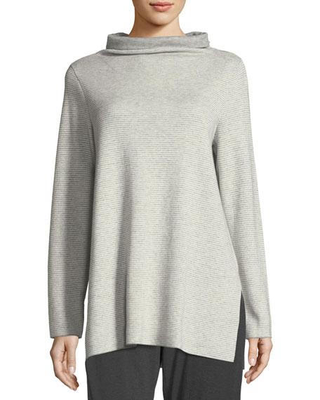 Funnel-Neck Ribbed Organic Cotton & Cashmere Tunic, Plus Size