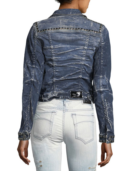 Washed Cropped Denim Jacket w/ Studs