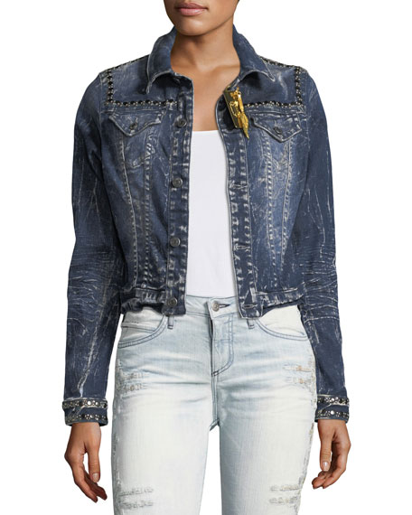 Robin's Jeans Washed Cropped Denim Jacket w/ Studs