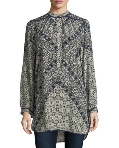 Natasha Long-Sleeve Geometric-Print Tunic, Plus Size