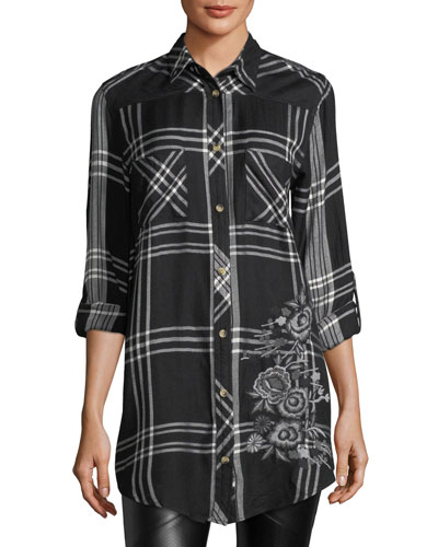 Tina Mixed-Media Plaid Tunic, Plus Size