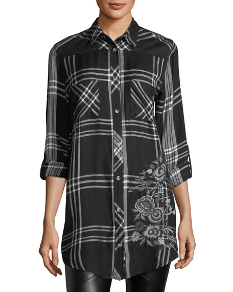 Tina Mixed-Media Plaid Tunic