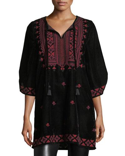Kajol Half-Sleeve Velvet Tunic, Plus Size