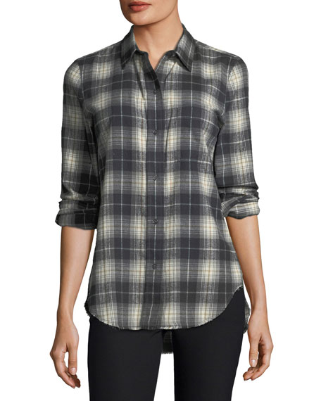 Plaid Button-Front Oversized Cotton Shirt