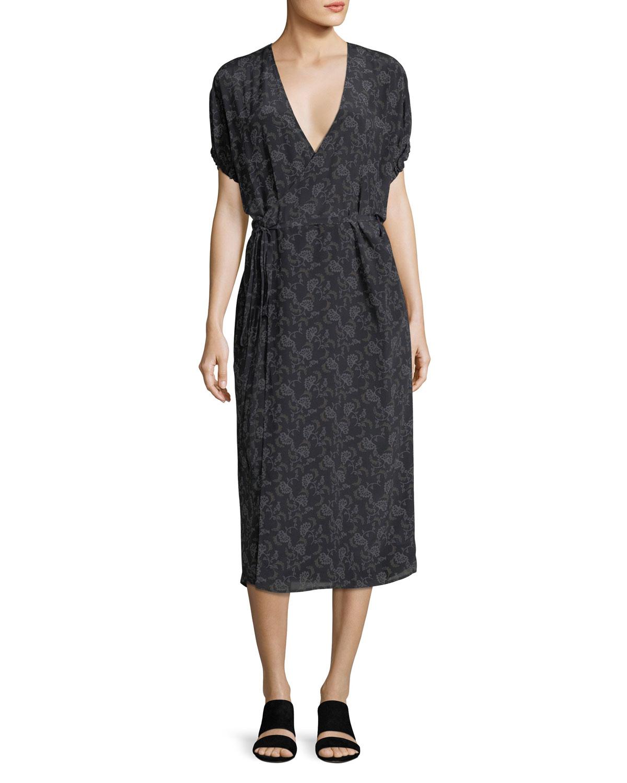 Outlet Browse Vince floral print wrap dress Outlet Cheap Fashionable Sale Online New Arrival Cheap Price 7K4DtuGe