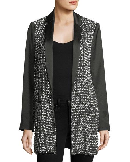 Alice + Olivia Jace Embellished Notched-Collar Oversized Blazer