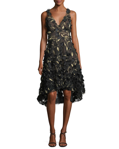 Marchesa Notte High-Low 3D Petal Cocktail Dress