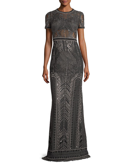 Marchesa Notte Embroidered Lace Cap-sleeve Column Evening Gown