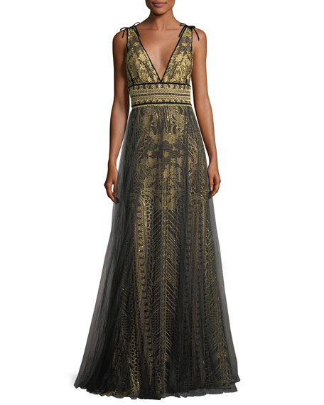 Marchesa Notte Tulle Overlay Sleeveless Embroidered Evening Gown