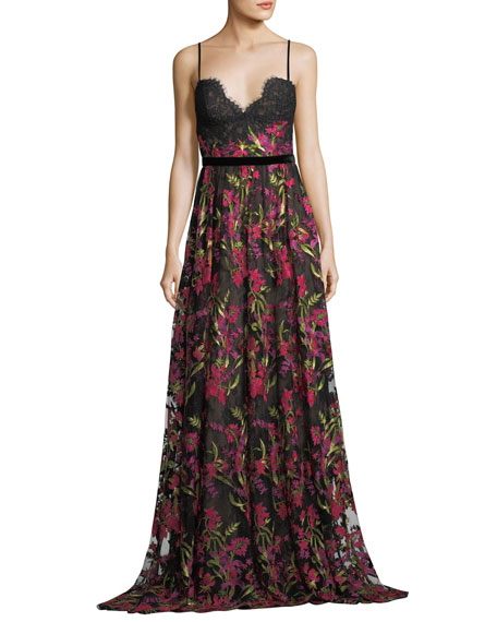 Marchesa Notte Floral Embroidered Crepe Dress
