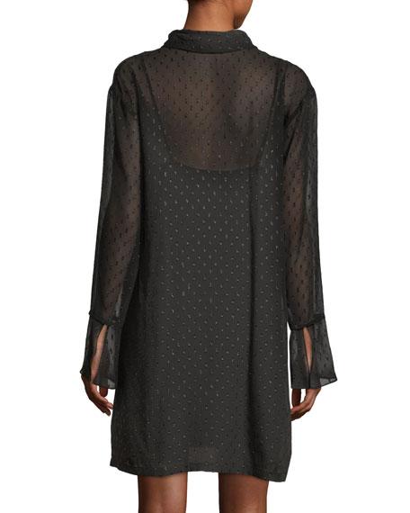 Dotted Metallic Silk Scarf Dress