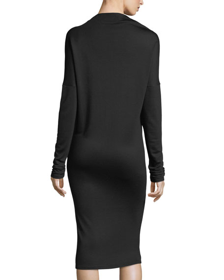 Mock-Neck Long-Sleeve Drapey Jersey Midi Dress