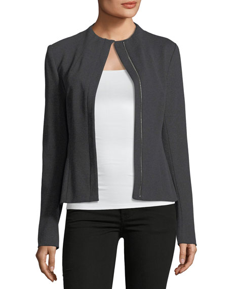 Sculpted Knit Zip-Front Twill Jacket