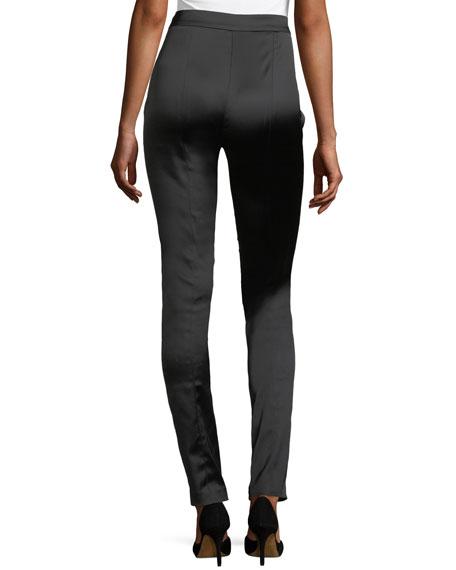 High-Waist Side-Zip Satin Leggings