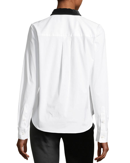 Button-Front Velvet Collar Fancy Shirt