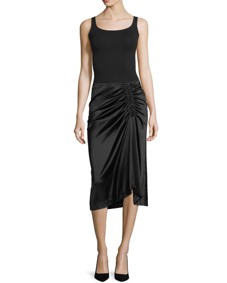 Stretch-Satin Ruched Midi Skirt