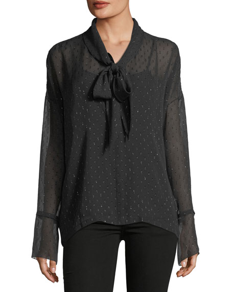 Theory Long-Sleeve Metallic Silk Scarf Shirt