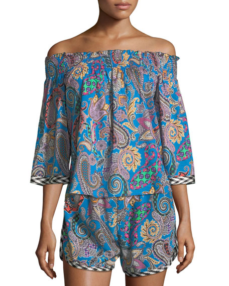 Off-the-Shoulder Paisley-Print Cotton Top