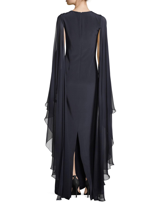 Rickie Freeman for Teri Jon Flyaway Sleeves Silk Evening Gown w ...