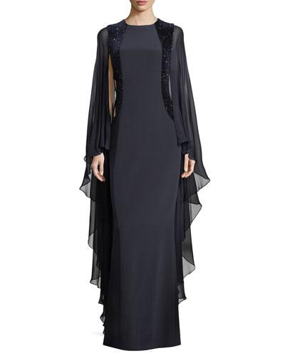 Flyaway Sleeves Silk Evening Gown w/Beaded Velvet Insets