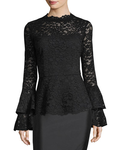 High-Neck Lace Bell-Sleeve Top
