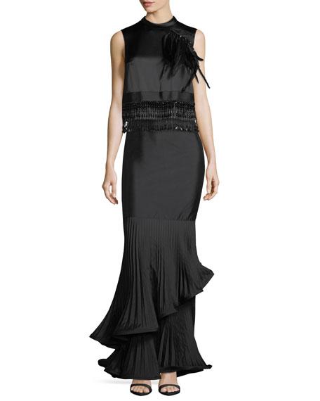 Taffeta Long Skirt w/ Pleated Ruffle Trim