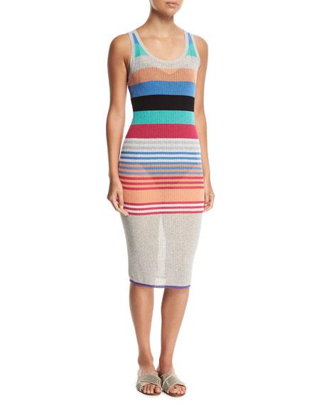 Diane von Furstenberg Sleeveless Semisheer Striped Knit Beach