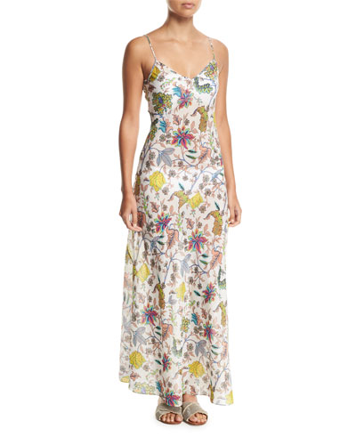 Sleeveless Floral-Print Bias-Cut Coverup Slip Dress